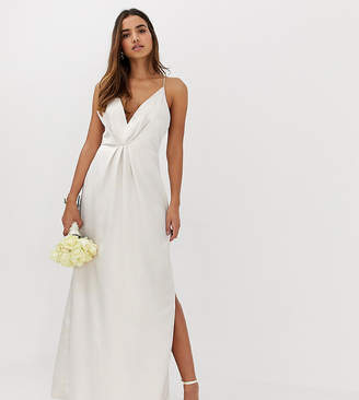 Missguided plunge cross back maxi dress in cream