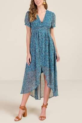 francesca's Destiny Kimono Sleeve Dress - Dark Teal