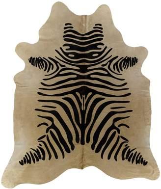 Hewson Zebra Stenciled Brazilian Cowhide Rug