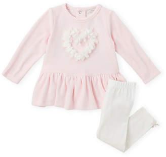 Miniclasix Newborn Girls) Two-Piece Heart Petal Long Sleeve Dress & Leggings Set