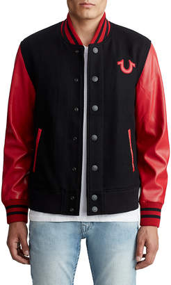 True Religion MENS VEGAN LEATHER VARSITY JACKET