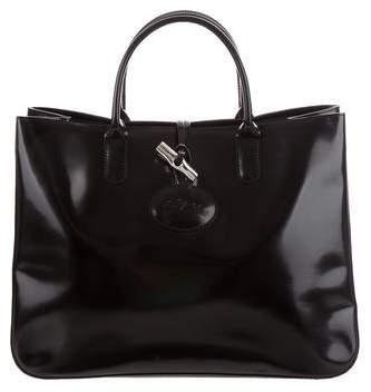 Longchamp Leather Roseau Tote - BLACK - STYLE