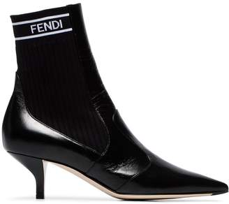 Fendi Black 45 stretch ankle boots