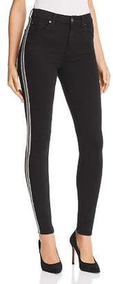 7 For All Mankind Embellished High Rise Ankle Skinny Jeans in B(air) Black with Caviar Beads