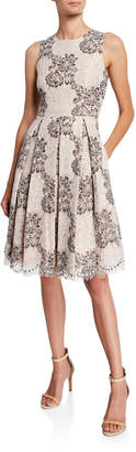 Eliza J Floral Lace Eyelash Fit-&Flare Dress
