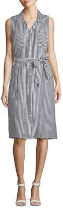 August Silk Women's Striped Chambray Sleeveless Dress