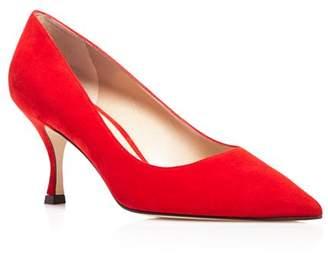 Stuart Weitzman Women's Tippi 70 Pointed Toe Suede Kitten Heel Pumps