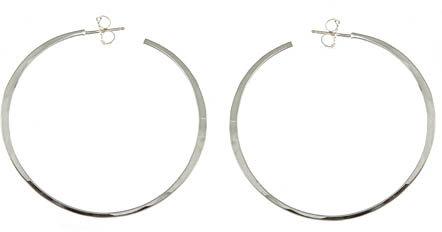 Rebecca Norman Silver Hammered Hoop Earrings