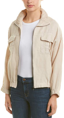 Three Dots Linen Bomber Jacket