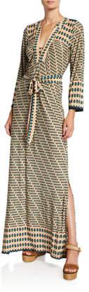 Melissa Masse Plus Size Geo-Print Classic Caftan Maxi Dress