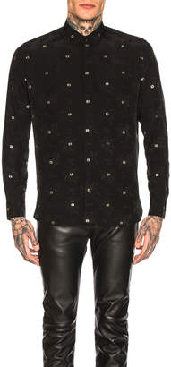 Saint Laurent Long Sleeve Shirt in Black & Silver | FWRD