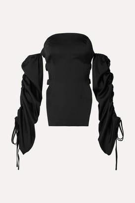 Cult Gaia Afra Off-the-shoulder Cutout Satin Top - Black