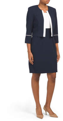 Pearl Trim Jacket Dress