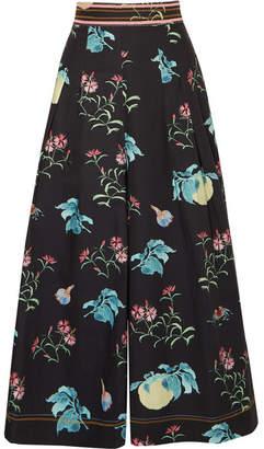Peter Pilotto Floral-print Cotton Culottes - Black