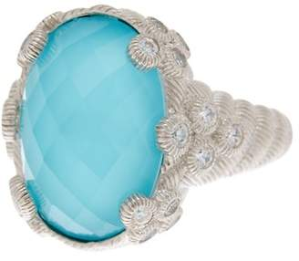 Judith Ripka Sterling Silver Turquoise Doublet CZ Ring