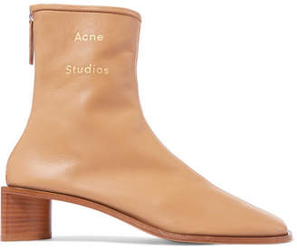 Acne Studios Bertine Leather Ankle Boots - Beige