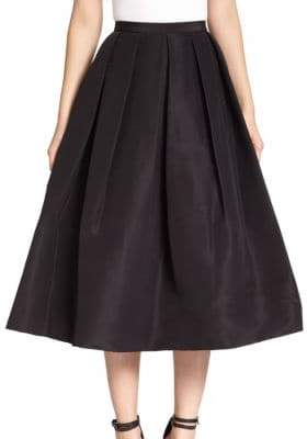 Tibi Silk Faille Pleated A-Line Skirt