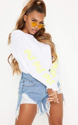 PrettyLittleThing White Printed Long Sleeve T shirt