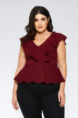 54feb4eded47f Quiz Curve Black Frill Neck Peplum Top