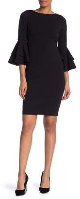 Modern American Designer Solid Bell Sleeve Sheath Dress