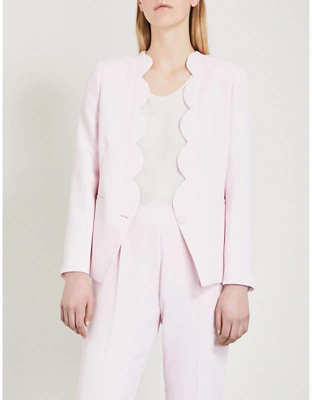 Scalloped-trim crepe jacket