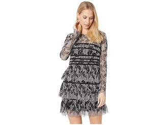 Halston Long Sleeve Lace Dress with Strapping Detail
