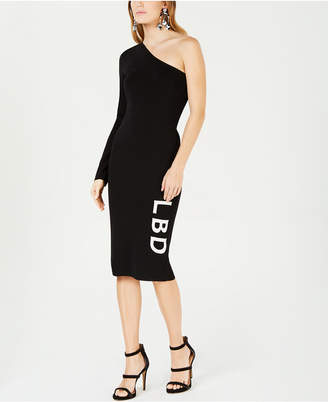 Bar III One-Shoulder LBD Sweater Dress, Created for Macy's
