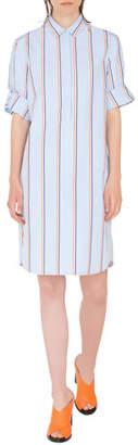Akris Punto Striped Kent-Collar Shirtdress