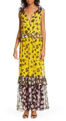 Diane von Furstenberg Drea Pattern Mix Tiered Silk Maxi Dress