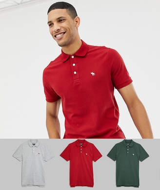 Abercrombie & Fitch 3 pack icon logo pique polo slim fit in red/gray marl/green