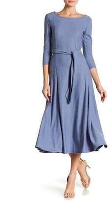 Nina Leonard 3/4 Sleeve Swiss Dot Print Dress