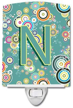 N. Caroline's Treasures Letter Circle Circle Teal Initial Alphabet Ceramic Night Light