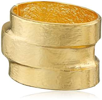 Kenneth Jay Lane Hammered -Plated Three-Tiered Hinged Cuff Bracelet