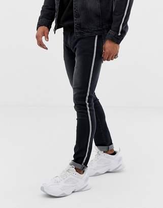 N. Liquor Poker skinny jeans with metalic sport stripe in black