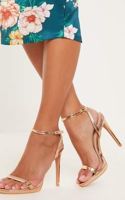 PrettyLittleThing Rose Gold Platform Single Strap Sandal