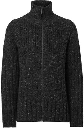 7e5b97ffc3a199 Burberry Cable Knit Cashmere Wool Mohair Zip-front Sweater