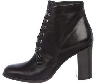 Chanel CC Leather Round-Toe Ankle Boots