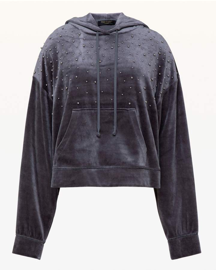 Bead Embellished Lightweight Velour Hooded Pullover