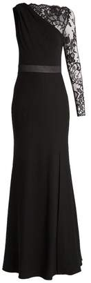 Alexander McQueen One Shoulder Lace And Crepe Gown - Womens - Black