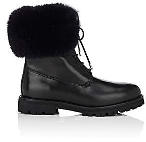Mr & Mrs Italy Women's Fur-Cuff Leather Combat Boots-Navy