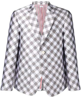 Thom Browne Patch Pocket Gingham Sack Sport Coat