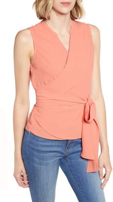 1 STATE 1.STATE Sleeveless Crepe Wrap Top