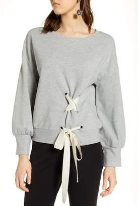 Halogen Lace-Up Sweatshirt (Regular & Petite)