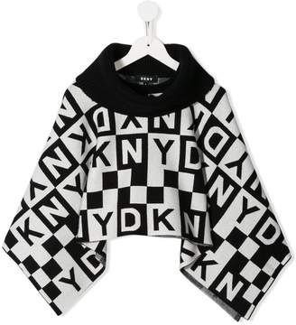 DKNY knitted lettering poncho