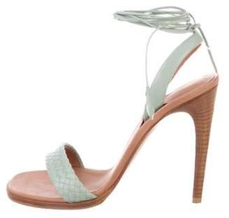 Bottega Veneta Leather Ankle Strap Sandals Mint Leather Ankle Strap Sandals