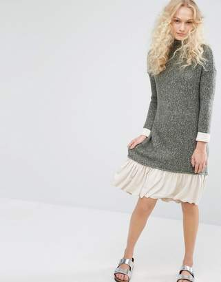 I Love Friday High Neck Knit Dress With Contrast Hem