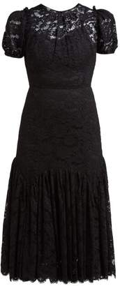 Dolce & Gabbana Floral Lace Gathered Midi Dress - Womens - Black