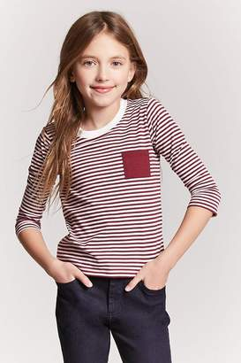 Forever 21 Girls Stripe Pocket Top (Kids)