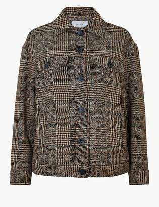 Marks and Spencer Oversized Wool Blend Checked Short Jacket