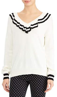 Lauren Ralph Lauren Ruffled V-Neck Sweater